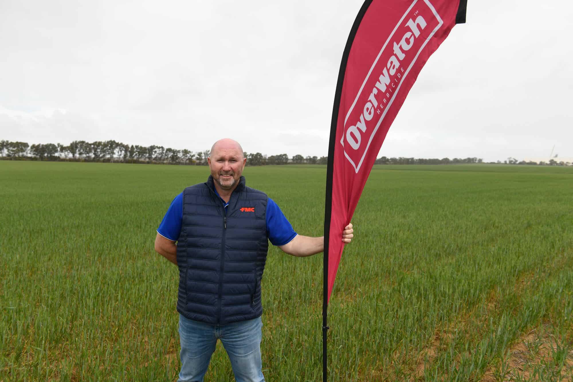 FMC Western Regional Manager, Derek Burgess preparing for an Overwatch® Herbicide field day at Northampton, WA