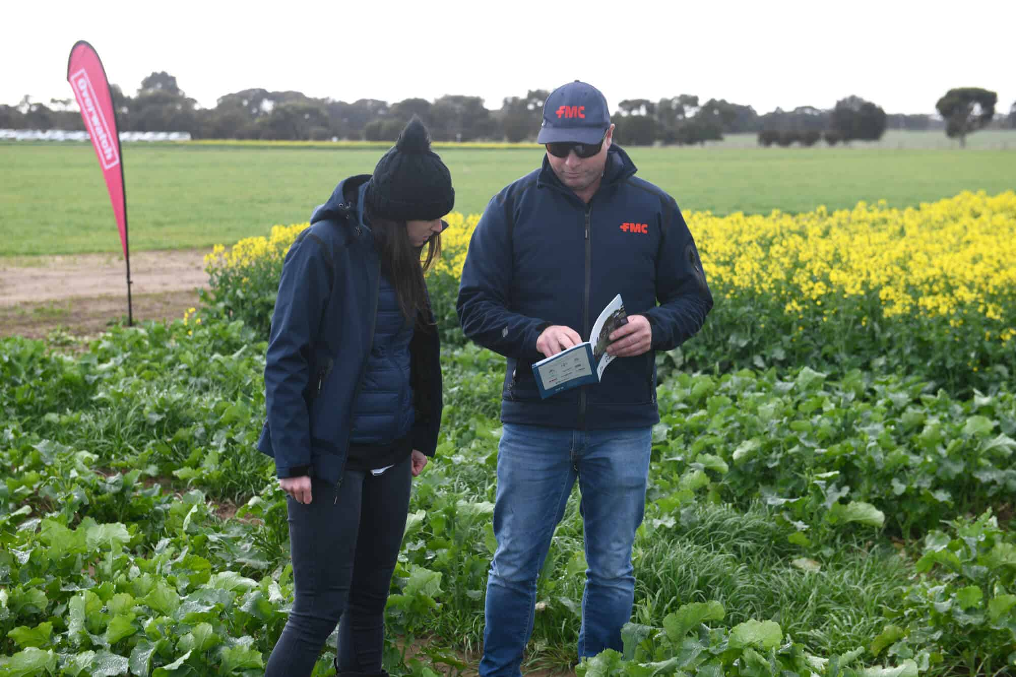 FMC Area Business Manager, Kent Hair and FMC Marketing Associate, Georgia Greaves discussing the performance of Overwatch® Herbicide at the Inverleigh Southern Farming Systems field day