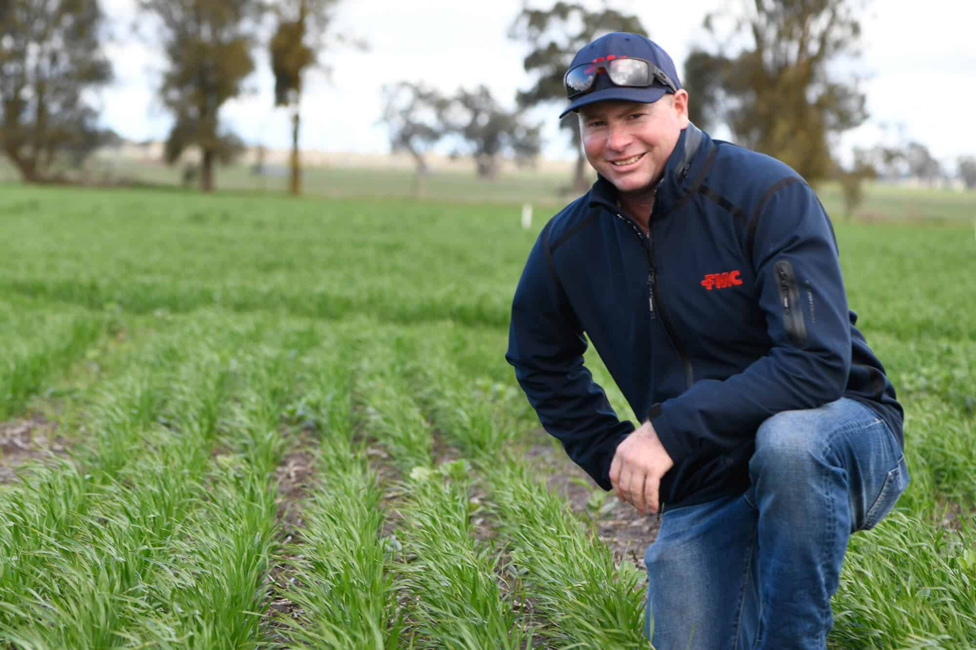 FMC Area Business Manager, Kent Hair inspecting an OOverwatch® Herbicide trial site at Frances, SA